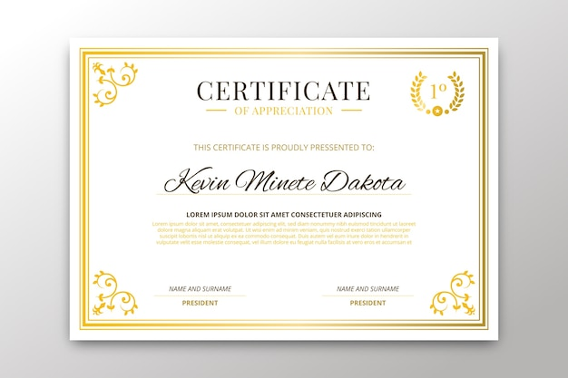 Conceito de modelo de certificado elegante