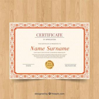 Conceito de modelo de certificado ornamental decorativo