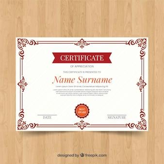 Conceito de modelo de certificado ornamental vintage