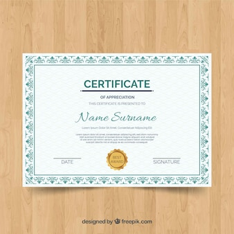 Conceito de modelo de certificado retrô