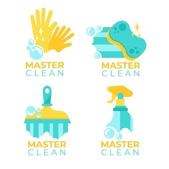 Conceito de modelo de coleção de logotipo de limpeza