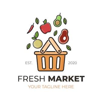 Conceito de modelo de coleção de logotipo de mercado