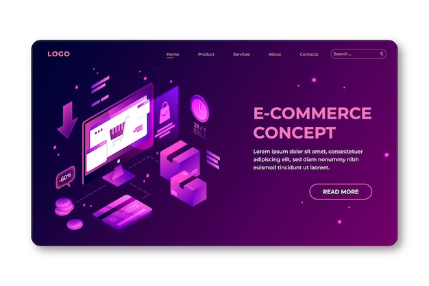 Conceito de modelo de comércio eletrônico isométrico