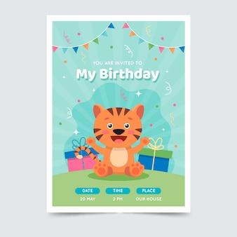 Conceito de modelo de convite de cartão de aniversário infantil