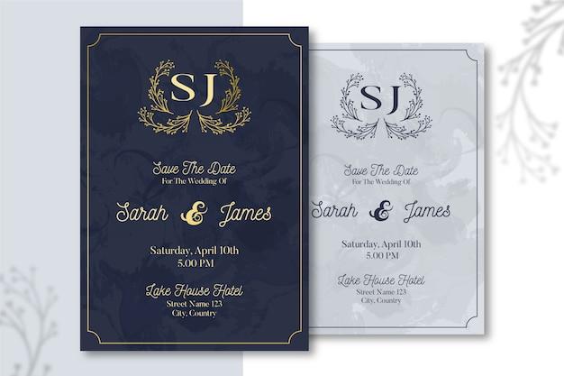 Conceito de modelo de convite de casamento elegante