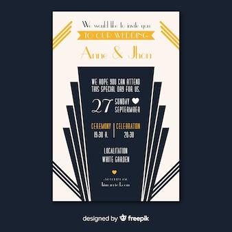 Conceito de modelo de convite de casamento moderno art deco