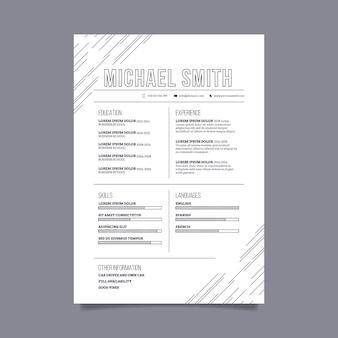 Conceito de modelo de cv minimalista