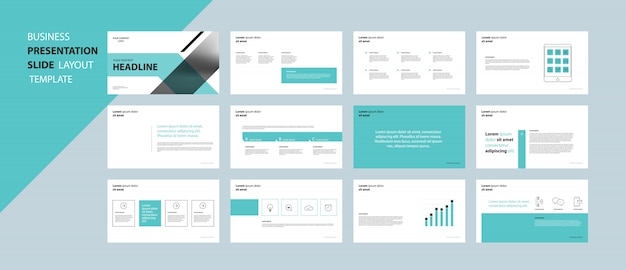 Conceito de modelo de design de apresentação de negócios com elementos de infográfico