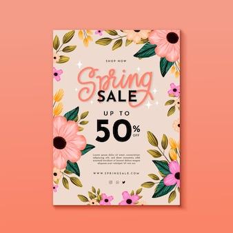 Conceito de modelo de folheto de venda de primavera