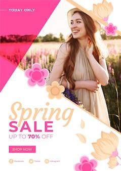 Conceito de modelo de folheto promocional primavera venda