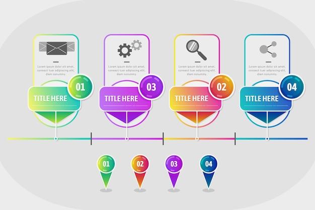 Conceito de modelo de infográfico de etapas