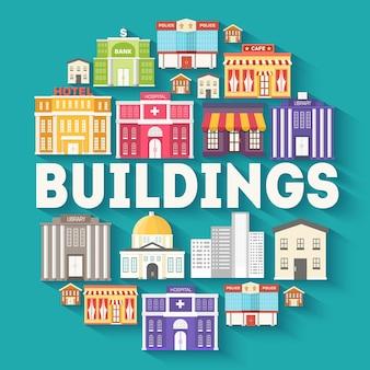 Conceito de modelo de infográficos de círculo de edifícios de arquitetura