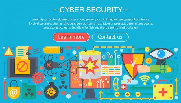 Conceito de modelo de infográficos de segurança cibernética
