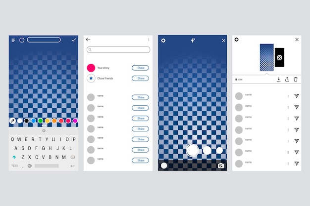 Conceito de modelo de interface do instagram pstories