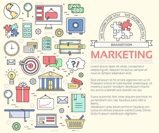 Conceito de modelo de linhas finas de infográficos de negócios
