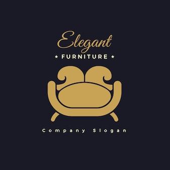 Conceito de modelo de logotipo de móveis elegantes