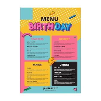 Conceito de modelo de menu de aniversário