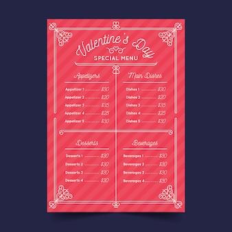 Conceito de modelo de menu de dia dos namorados de design plano