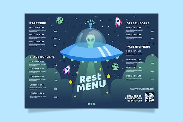 Conceito de modelo de menu de restaurante colorido