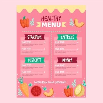 Conceito de modelo de menu de restaurante de comida saudável