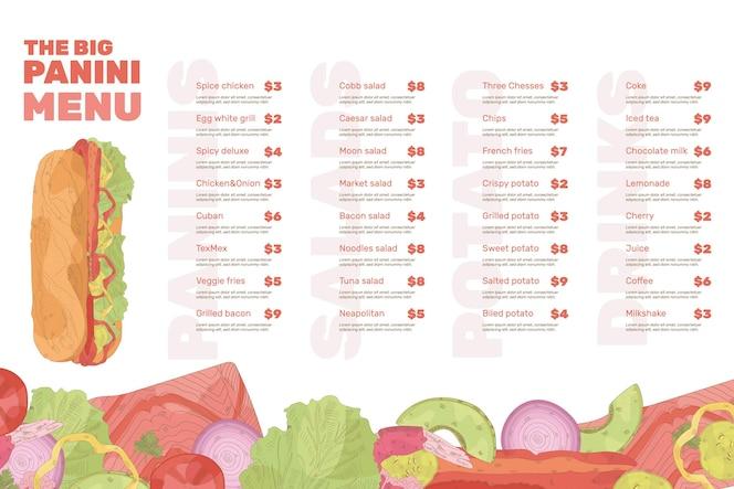 Conceito de modelo de menu de restaurante digital
