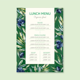 Conceito de modelo de menu de restaurante em aquarela