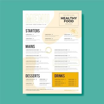 Conceito de modelo de menu de restaurante vintage
