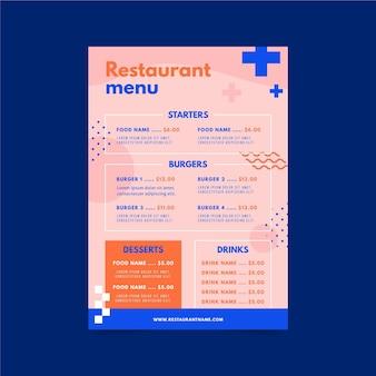 Conceito de modelo de menu de restaurante