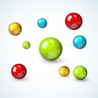 Conceito de modelo de molécula colorida