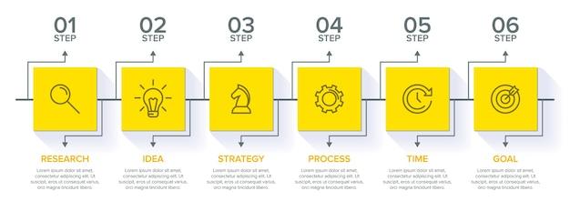 Conceito de modelo de negócios de seta com etapas sucessivas. seis elementos gráficos coloridos. linha do tempo