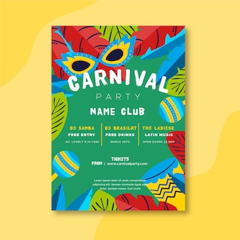 Conceito de modelo de panfleto de festa de carnaval de design plano
