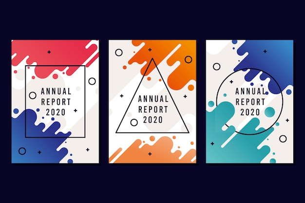 Conceito de modelo de relatório anual colorido e moderno