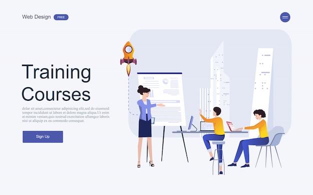Conceito de modelo de site para educação on-line, treinamento e cursos.