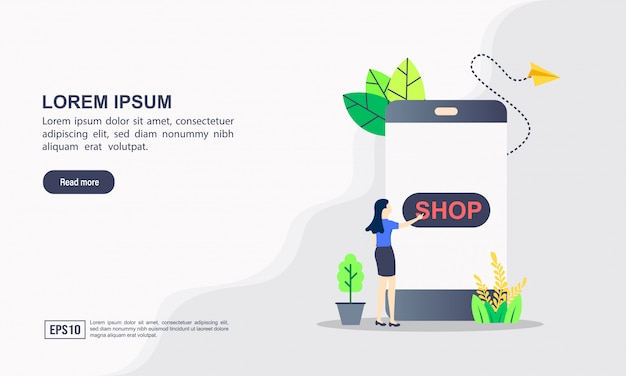 Conceito de modelo de web de página de destino de compras on-line