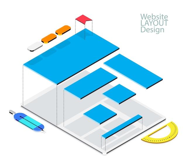 Conceito de modelo de wireframe isométrico do site