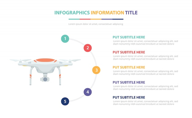 Conceito de modelo infográfico drone com lista de cinco pontos e várias cores