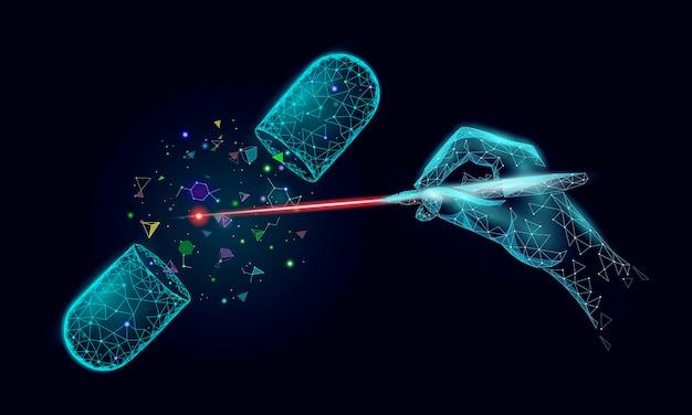 Conceito de modificação de grug de biologia científica. farmácia de pesquisa de realidade virtual com operação a laser.