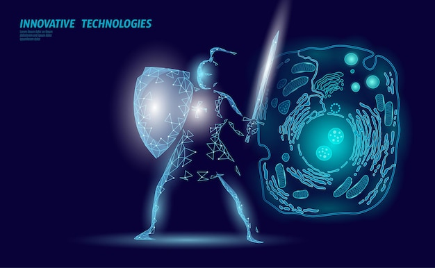 Conceito de modificação do gene da biologia científica. modificação da realidade virtual da operação do laser. ilustração de análise de saúde de terapia genética de pesquisa de medicina futurista.