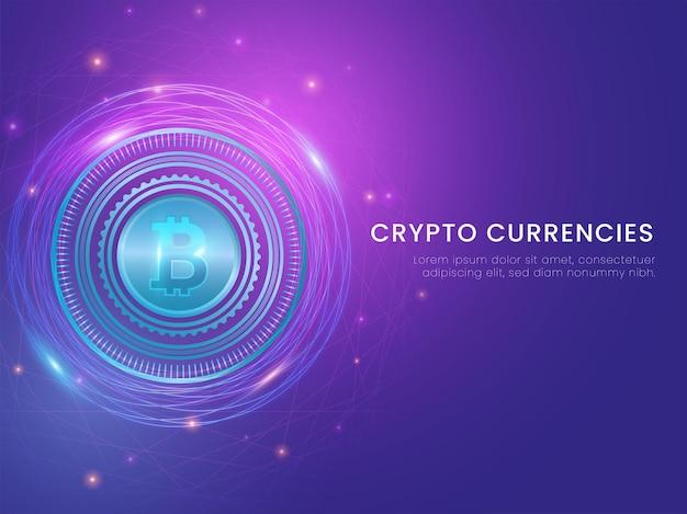 Conceito de moedas criptográficas com bitcoin futurista e efeito de luzes sobre fundo azul.