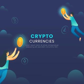 Conceito de moedas criptográficas com desenho animado jovem e mulher pegando bitcoin dourado sobre fundo azul.
