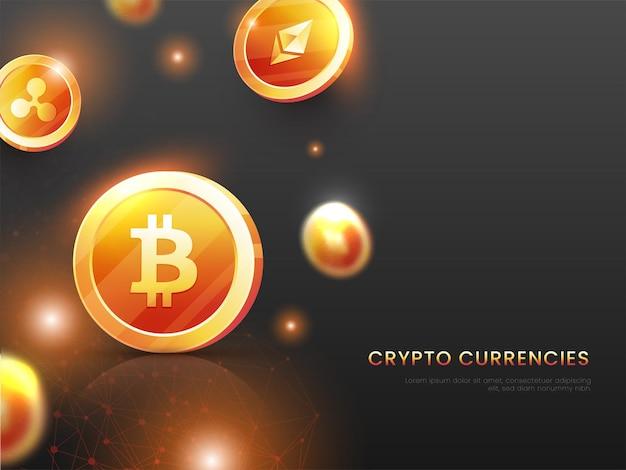 Conceito de moedas criptográficas com moedas de ouro 3d e efeito de luzes sobre fundo preto.