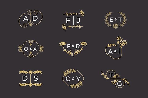 Conceito de monogramas de casamento floral