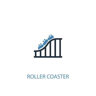 Conceito de montanha-russa 2 ícone colorido. ilustração do elemento azul simples. projeto de símbolo de conceito de montanha-russa. pode ser usado para ui / ux da web e móvel