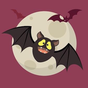 Conceito de morcego de halloween de design plano