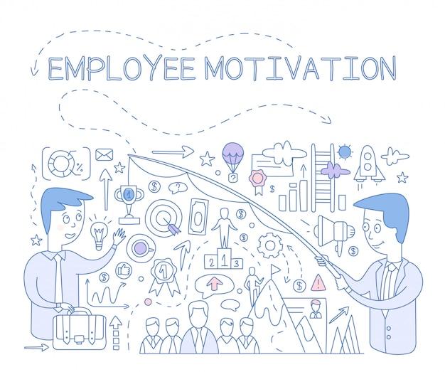 Conceito de motivação do empregado. infográfico