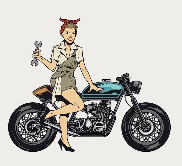 Conceito de motocicleta vintage colorida com garota segurando a chave e em pé perto de uma motocicleta isolada