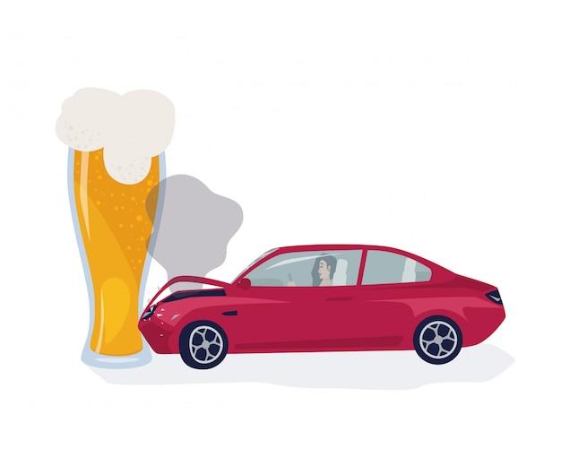 Conceito de motorista bêbado. carro dobrado no copo de cerveja. ilustração colorida.