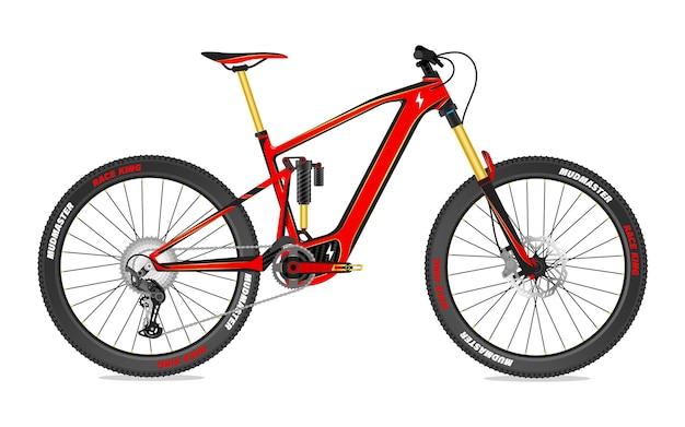 Conceito de mountain bike elétrica com suspensão total