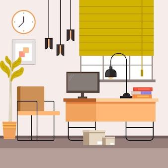 Conceito de móveis de interior no local de trabalho freelance para casa