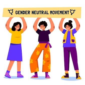 Conceito de movimento neutro de gênero com pessoas